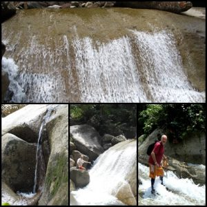 "Climbing up Jangkar's ""white water"" canyon between 6th & 7th waterfalls."