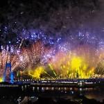 backpackers, destination, Darul Hana Bridge, golden bridge, jambatan, fireworks, Opening ceremony, Kuching Waterfront, Borneo, Sarawak, Malaysia, Tourism, obyek wisata, travel guide