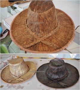 Kampung Tang Itong, tree bark crafts, hats, Kraftangan Malaysia, tribal, artisan, culture, native, Orang Ulu, tribe, Borneo, Sarawak, Tourism, traditional, travel guide, 原著民树皮工艺品