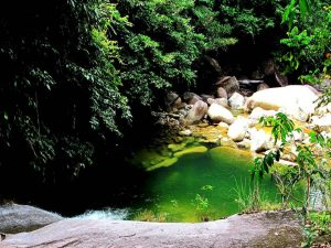 Green water pool at base of Jangkar falls # 3.