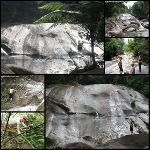 6th waterfall – massive granite rock face – looks impassable at first view.