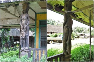 Sendawar, Lamin, adventure, Borneo, Indigenous Dayak Benuaq, East Kalimantan, hard wood, traditional longhouse homestay, Indonesia, Kalimantan Timur, outdoor, village, Statue carving, patung, sculptures,