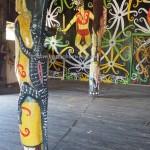 community hall, authentic, destination, culture, Borneo, Indonesia, totem pole, sculptures, Tourism, obyek wisata, traditional, tribe, village, 婆罗州, 旅游景点