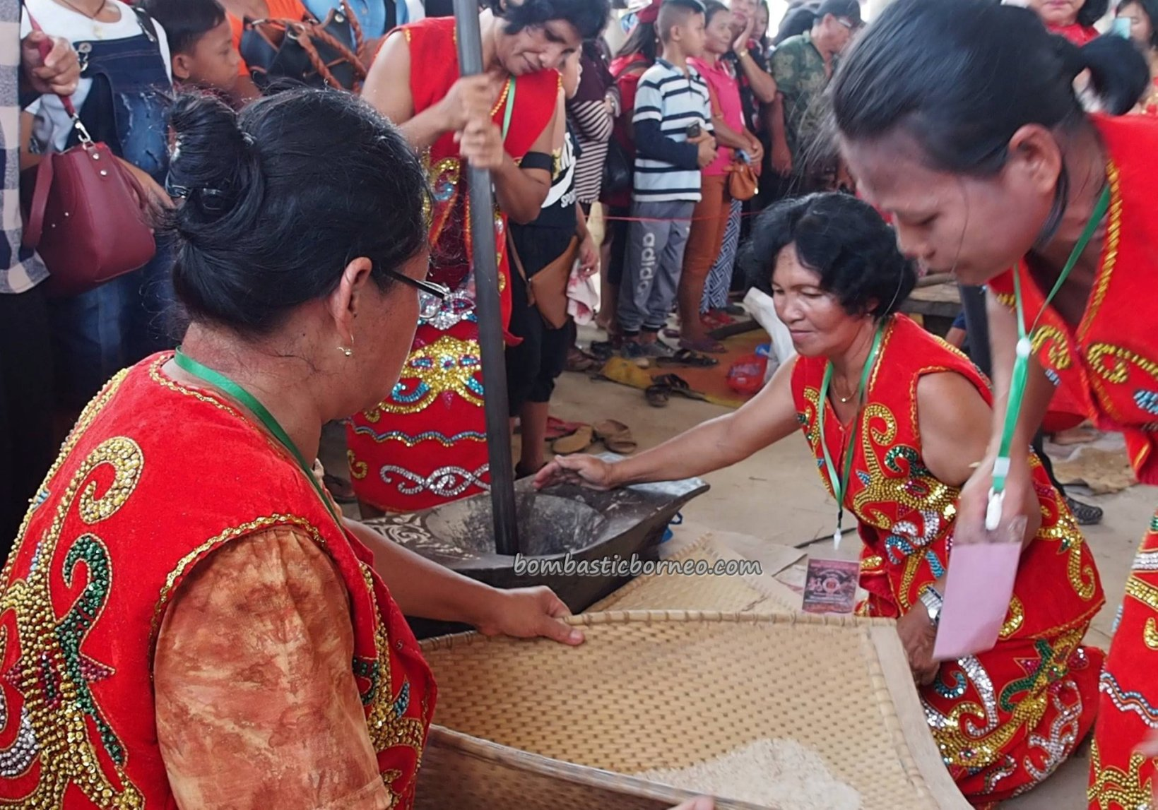Lomba menumbuk padi, Rumah Betang Raya Dori Mpulor, Dayak harvest festival, indigenous, culture, Indonesia, ethnic, native, Tourism, tourist attraction, travel guide, trans borneo, 跨境婆罗洲游踪, 西加里曼丹原住民, 传统土著丰收节