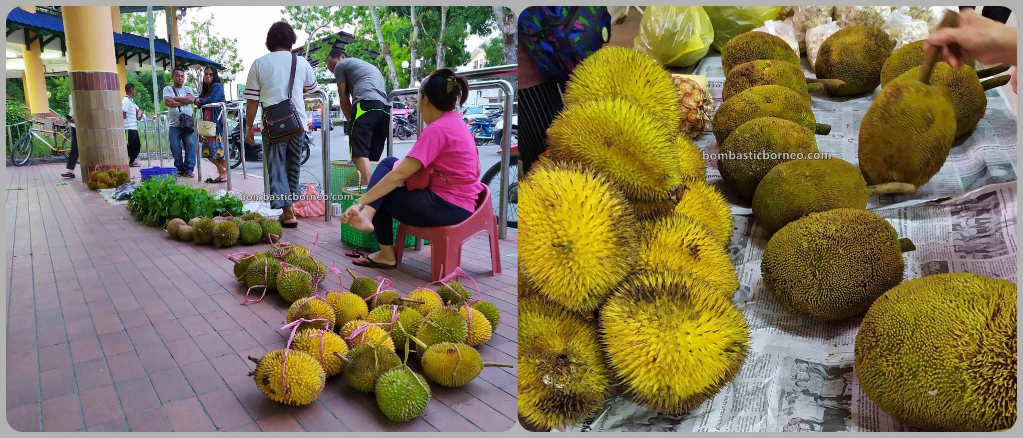 Durian, exotic fruits, vegetables, backpackers, Destination, exploration, Pasar tamu, local market, town, Tourist attraction, travel guide, Trans Borneo, 马来西亚砂拉越内陆, 马鲁帝早市,